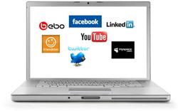 Laptop with social media logos