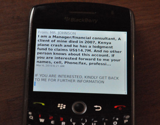 Image of Blackberry with 419 scam
