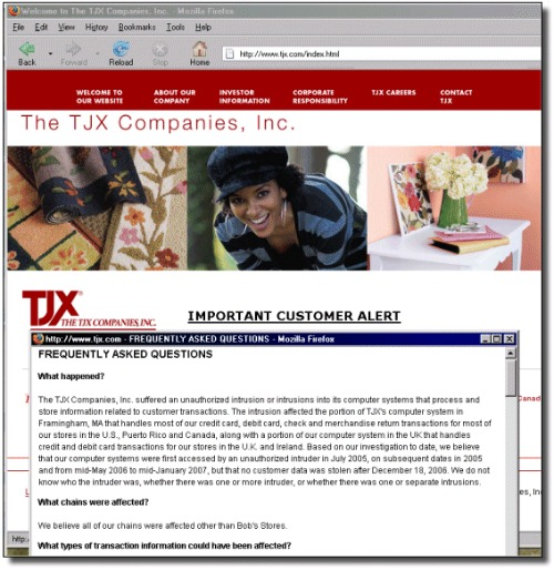 Statement on TJX website