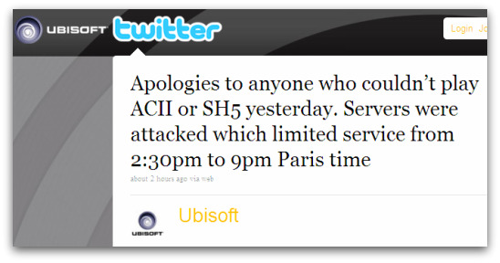 Ubisoft posts a message on Twitter about attack