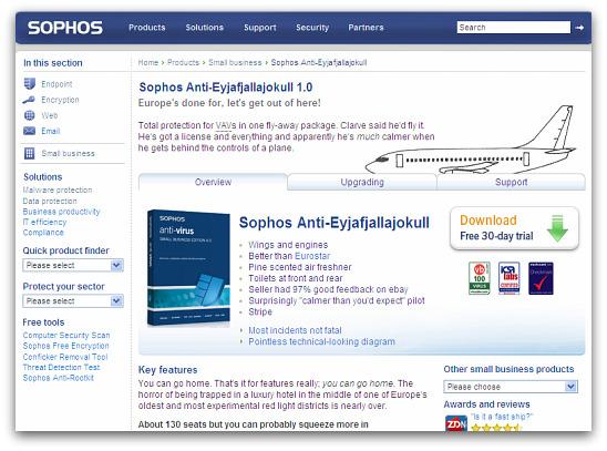 Sophos Anti-Eyjafjallajokull. Click for more information