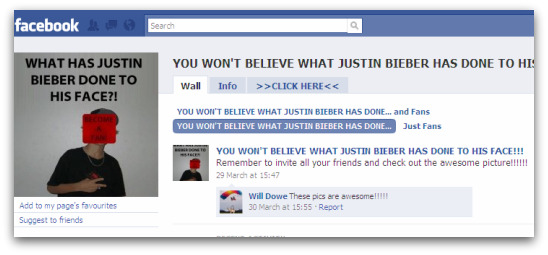Fake page on Facebook about Justin Bieber