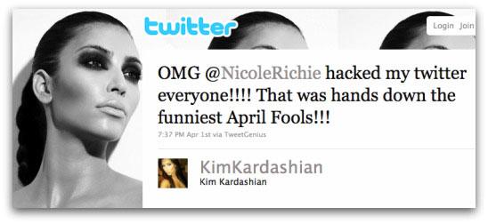 Nicole Richie hacked my Twitter
