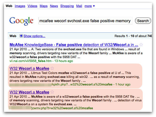 McAfee false positive problem exploited by hackers