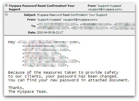 Bogus MySpace password reset confirmation email