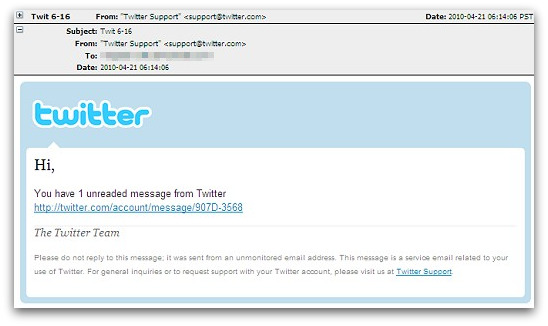 Spam email pretending to come from Twitter support
