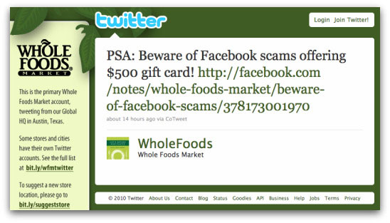 Whole Foods Twitter warning