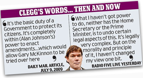 Nick Clegg's comments on the Gary McKinnon case