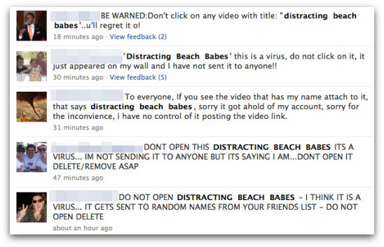 Warnings posted about the Distracting beach babes video attack