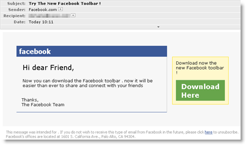 Screenshot of Facebook malware spam