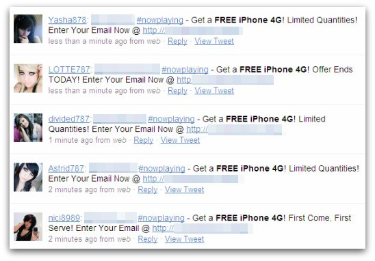 Free iPhone 4G tweets posted by spammers