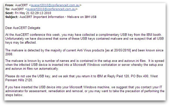 Email from IBM about malware on USB stick