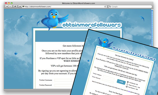 Two websites that claim they will help you obtain more followers