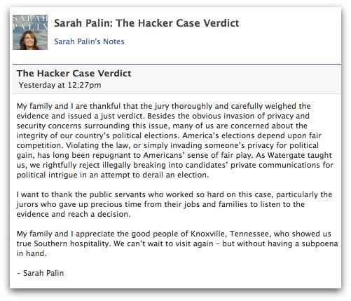 Sarah Palin comments on hacking verdict