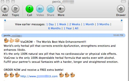 Screenshot of Skype Viagra spam