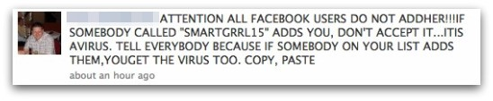A warning about SMARTGRRL15 posted on Facebook