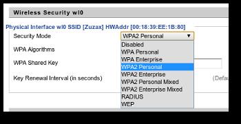 Wifi security settings