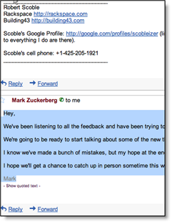 Screenshot of Zuckerberg's email to Scoble
