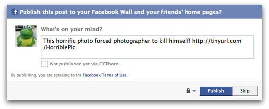 The Facebook page forces you to pass on the message