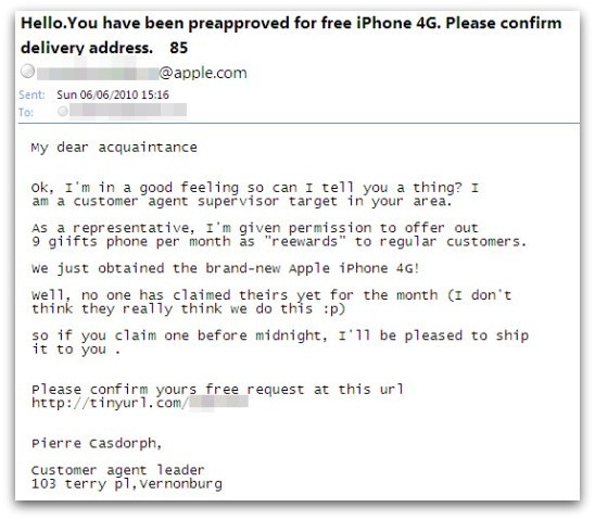 Spam message about iPhone 4G