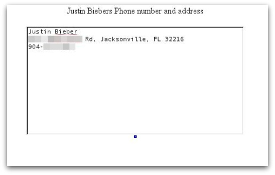 Justin Bieber's phone number and address