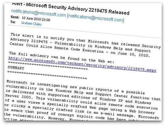 Microsoft advisory