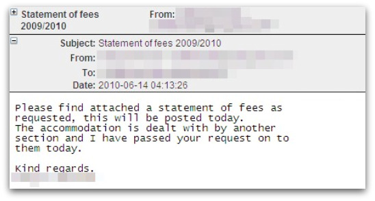 Statement of fees 2009/2010 malware attack