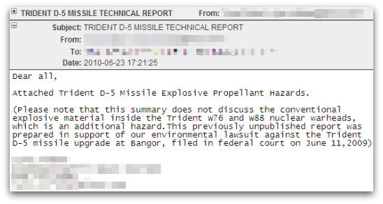 Malicious targeted attack email about Trident D5 missile