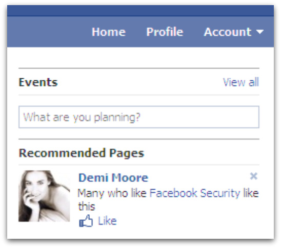 Demi Moore and Facebook security