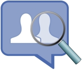Facebook and magnifying glass