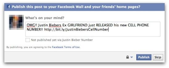 Justin Bieber cell phone number posting on Facebook