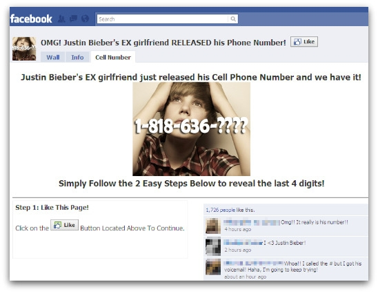Justin Bieber's cell phone name page on Facebook