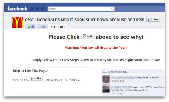 McDonalds might shut down Facebook page