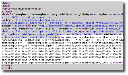 Malicious script injected into ads content