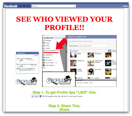 See who has viewed your profile scam page