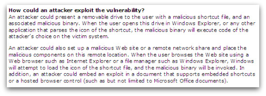 Shortcut Microsoft advisory