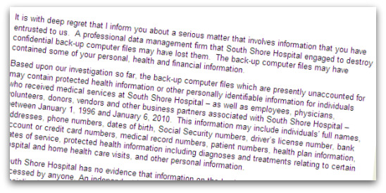 Sample letter from South Shore Hospital