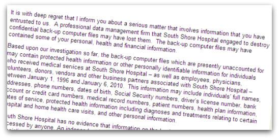 Sample letter from South Shore Hospital