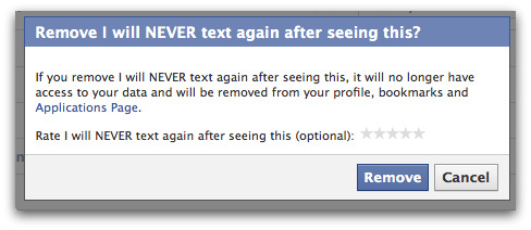 Facebook asks for confirmation that you do wish to remove the application