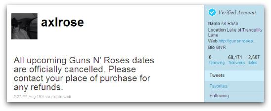 Axl Rose's Twitter account