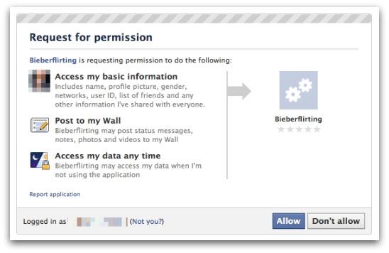 Bieberflirting rogue Facebook application