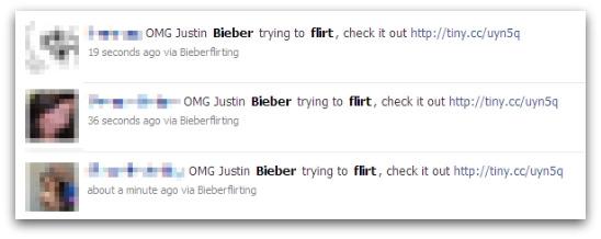 Justin Bieber flirting messages on Facebook
