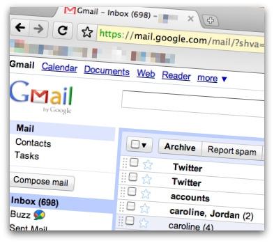 Gmail accessed via Google Chrome