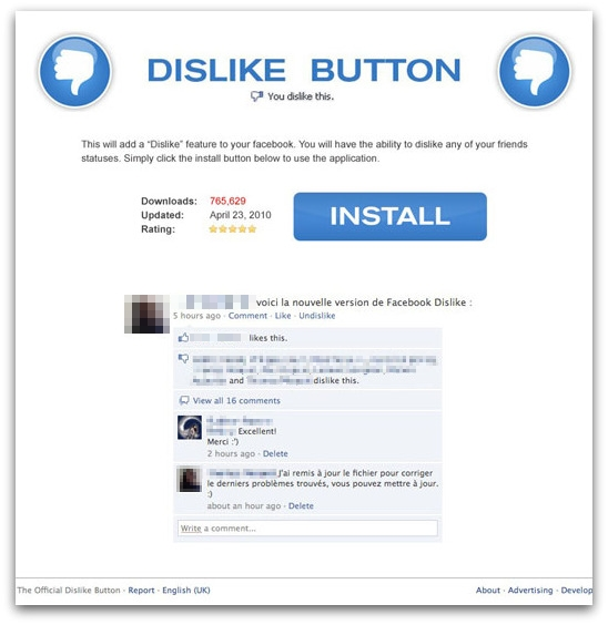 Dislike button Facebook page