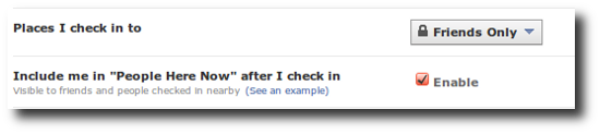 Facebook Places privacy settings