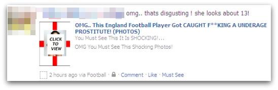 Football cheat Facebook message