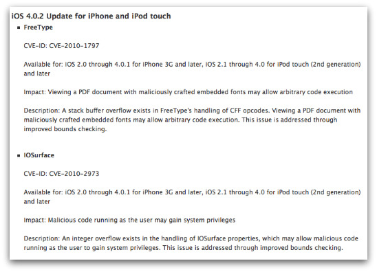 iOS 4.0.2 for iPhone