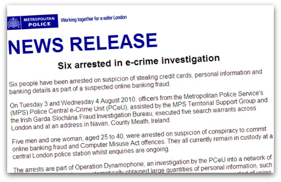 Met Police statement on phishing arrests