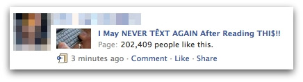 Never text again message on Facebook