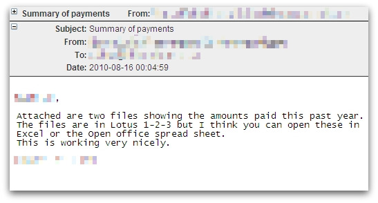 Summary of payments malicious email